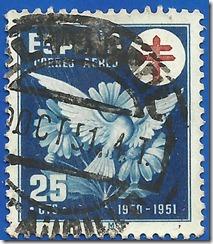 España  Pro-tuberculos Cruz de lorena en Rojo  1950 1