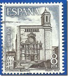 España - Paisajes y Monumentos La Catedral de Gerona azul y castaño oscuro1