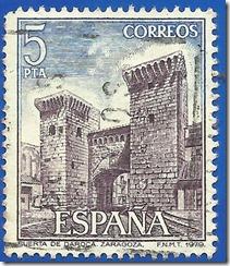 España - Paisajes y Monumentos Puerta de Daroca Zaragoza azul y violeta1