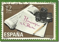 Espanha Homenaje ala prensa Periodico y maquina fotografica  1981 1