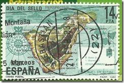 España- Día do Selo Illa de Tenerife Sobor do Mapa e perspectiva do archipelago Canario Codigo Postal 1982 1