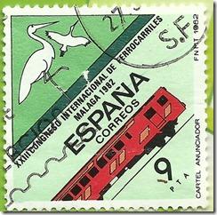 España . XXIII Congreso Internacional de Ferrocarriles Cartel Anunciador e tren Intercity 1982 1